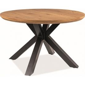 Ritmo 120 oak&black round dining table Signal