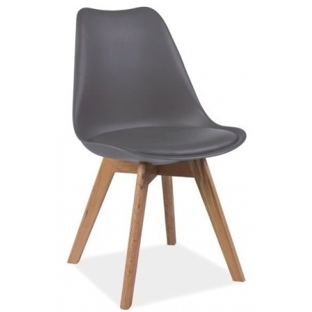 Kris grey scandinavian cushion chair with wooden legs Signal