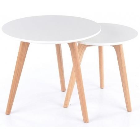Designerski Zestaw stolików kawowych Milan S2 Signal do salonu. Kolor dąb