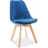 Dior Velvet navy blue velvet chair with wooden legs Signal