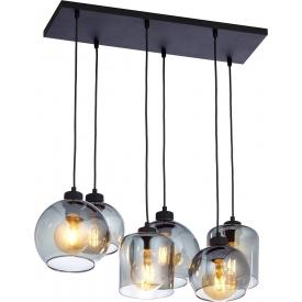 Szklana lampa wisząca POBO V TK Lighting do salonu. Kolor szary, Kształt kulisty i półkulisty, Styl industrialny.