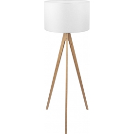Treviso white wooden tripod floor lamp with shade TK Lighting