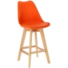Norden Wood Low 64 orange scandinavian bar chair with wooden legs Intesi