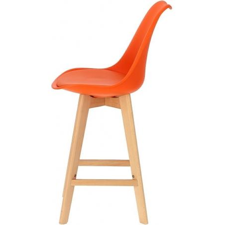 Norden Wood Low 64 orange scandinavian bar chair with wooden legs Intesi