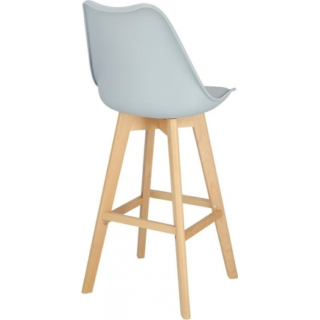 Norden Wood High 80 light grey scandinavian bar chair with wooden legs Intesi