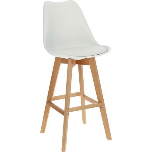Norden Wood High 80 white scandinavian bar chair with wooden legs Intesi