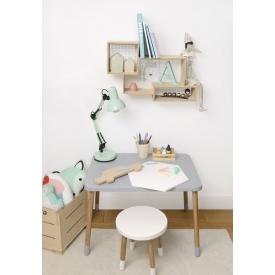 Stylowa Lampa stołowa drewniana Skylar Brilliant do salonu. Kolor jasne drewno, Styl vintage.