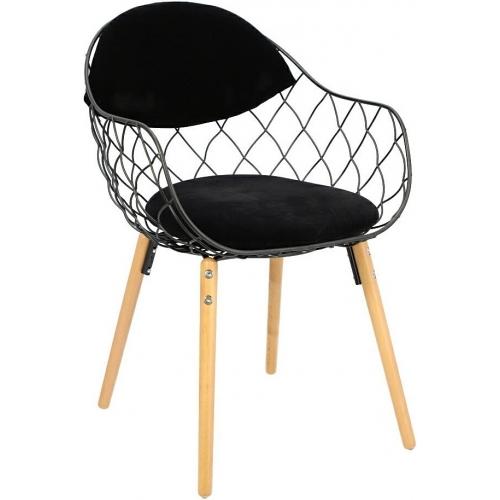 Krzesło ażurowe Jahi czarne/buk Intesi