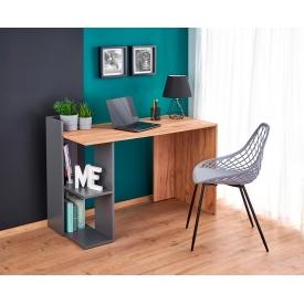Designerski Stolik prostokątny Scandi White 54 do salonu. Kolor biały, szary, dąb, grafitowy, stelaż/podstawa drewniana.