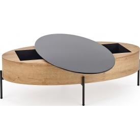 Designerski Okrągły stolik dziecięcy Megara 41 do salonu. Kolor biały, szary, grafitowy, dąb, stelaż/podstawa drewniana.