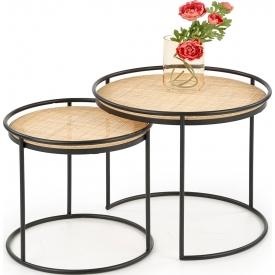 Designerski Okrągły stolik dziecięcy Megara 47 do salonu. Kolor biały, szary, grafitowy, dąb, stelaż/podstawa drewniana.