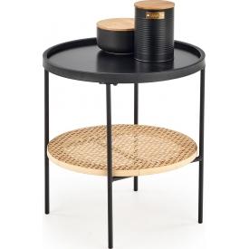 Designerski Okrągły stolik dziecięcy Ariel 41 do salonu. Kolor biały, szary, grafitowy, dąb, stelaż/podstawa drewniana.