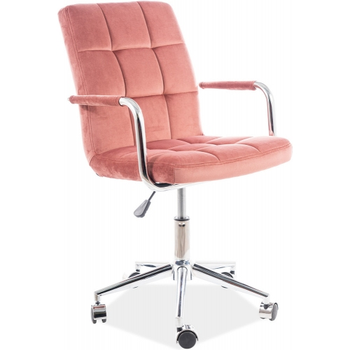 Q022 pink velvet quilted office chair Signal