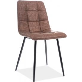 Stylowe Krzesło pikowane z ekoskóry Look Brązowe Signal do jadalni, salonu i kuchni.