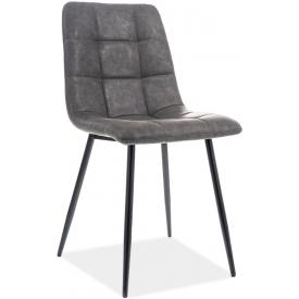 Stylowe Krzesło pikowane z ekoskóry Look Szare Signal do jadalni, salonu i kuchni.