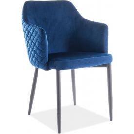 Wygodne Krzesło welurowe z podłokietnikami Astor Velvet Granatowy Signal do salonu, kuchni i jadalni.