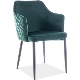 Wygodne Krzesło welurowe z podłokietnikami Astor Velvet Zielony Signal do salonu, kuchni i jadalni.