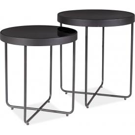Designerski Okrągły stolik kawowy EZRA Wood 60 Halmar do salonu. Kolor dąb san remo, stelaż/podstawa metalowa.