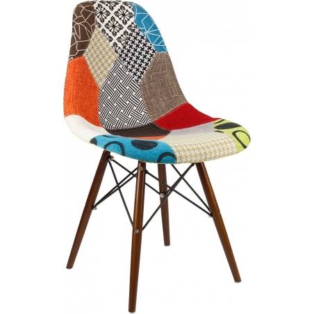 DSW Dark Patchwork upholstered chair with wooden legs