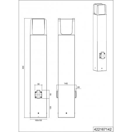 Ebro Led antharcite garden post with socket Trio