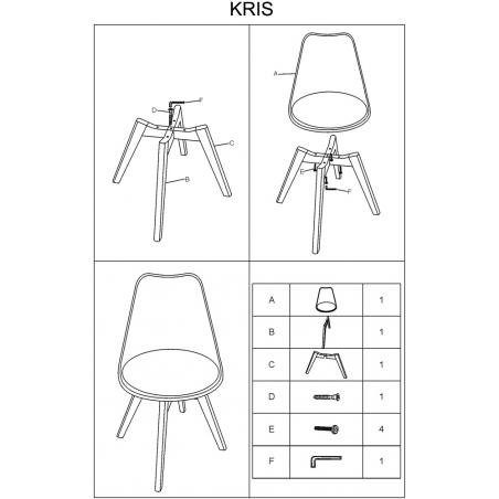 Designerskie Krzesło skandynawskie z poduszką Kris Jasnoszare Signal do jadalni i salonu.