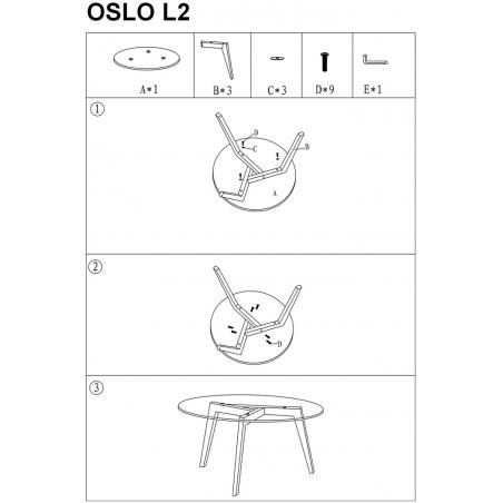 Skandynawski Stolik szklany okrągły Oslo Glass 80 Przeźroczysty/Dąb Signal do salonu.