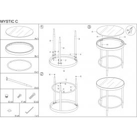Designerski Zestaw stolików drucianych Mofe Intesi do salonu. Kolor drewno tekowe, stelaż/podstawa metalowa.