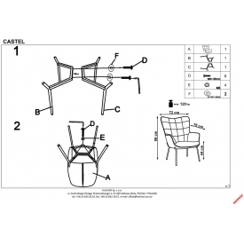 Tapicerowane krzesło z podłokietnikami Robin Signal do jadalni. Kolor: szary, czarny, denim, podstawa z tkaniny. Styl nowoczesny