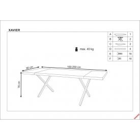 Stylowy Stół rozkładany Cesar 160 Signal do jadalni. Kolor biały, stelaż/podstawa drewniana. Styl skandynawski.