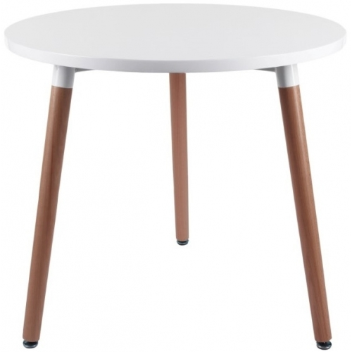 Stylowy Stół okrągły skandynawski Copine 80 Biały Intesi do jadalni, kuchni i salonu.