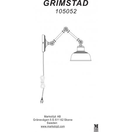Kinkiet industrialny na wysięgniku Grimstad Szary Markslojd do sypialni i salonu.