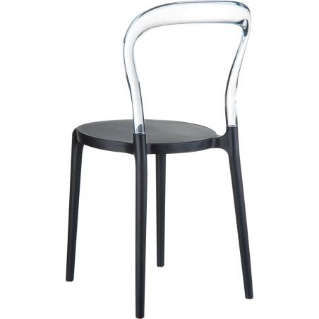 Designerskie Krzesło z tworzywa Bobo Black Czarny z przeźroczystym Siesta do jadalni, kuchni i salonu.
