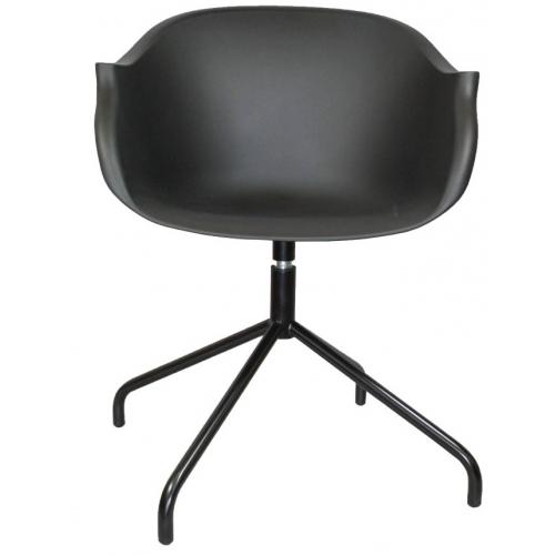 Czarne Krzesło obrotowe z podłokietnikami Roundy, piękny styl!