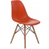 DSW Armless orange polypropylene chair with wooden legs D2.Design