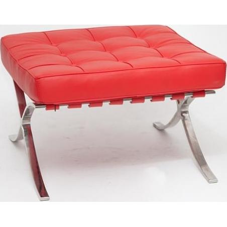 Stylowy Podnóżek skórzany pikowany insp. Barcelon (Otoman) Czerwony D2.Design do fotela.