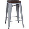 Paris Wood 65 walnut&silver industrial bar stool D2.Design