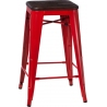 Paris Wood 65 brushed walnut&red industrial bar stool D2.Design