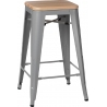 Paris Wood 65 natural&silver industrial bar stool D2.Design