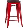 Designerski Hoker metalowy Paris 75 Wood Orzech/Czerwony D2.Design do kuchni.
