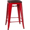 Paris 75 Wood walnut&red metal bar stool D2.Design