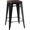 Paris 75 Wood walnut&black metal bar stool D2.Design