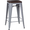 Paris 75 Wood walnut&silver metal bar stool D2.Design