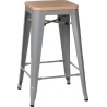 Paris 75 Wood natural&silver industrial bar stool D2.Design