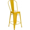 Paris Back 66 insp. Tolix yellow metal bar stool with backrest D2.Design