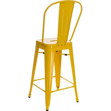 Designerskie Metalowe Krzesło barowe z oparciem Paris Back 66 insp. Tolix Żółte D2.Design do kuchni.