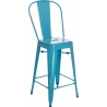 Paris Back 66 insp. Tolix blue metal bar stool with backrest D2.Design