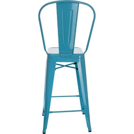 Designerskie Metalowe Krzesło barowe z oparciem Paris Back 66 insp. Tolix Niebieskie D2.Design do kuchni.