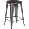 Paris Wood 65 brushed walnut&metal industrial bar stool D2.Design