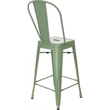 Designerskie Metalowe Krzesło barowe z oparciem Paris Back 66 insp. Tolix Miętowe D2.Design do kuchni.