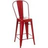Designerskie Metalowe Krzesło barowe z oparciem Paris Back 66 insp. Tolix Czerwone D2.Design do kuchni.